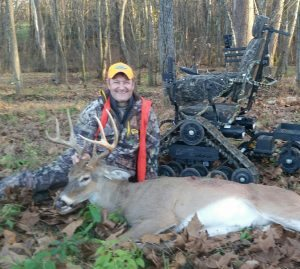 LJ Planer uses his Freedom Alliance provided Trackchair to enjoy hunting again.