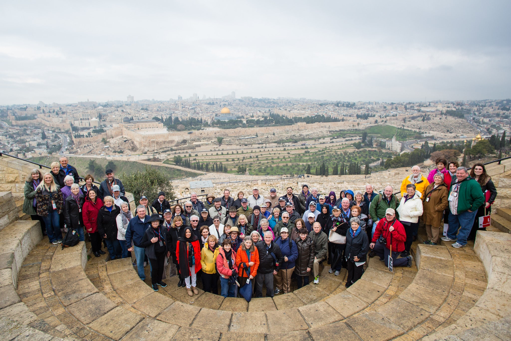 Photo of the 2018 Freedom Alliance Israel tour group overlooking Jersusalem