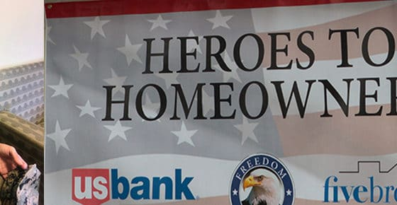 Banner Featuring Heroes to Homeowner recipient Andrea Bruns