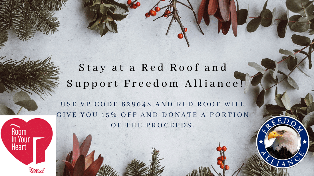 Stay at a Red Room property and Freedom Alliance will receive a donation!